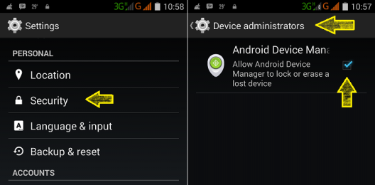 Mengaktifkan Android Device Manager