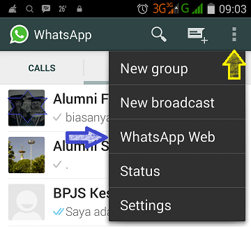 Menu Whatsapp for Web